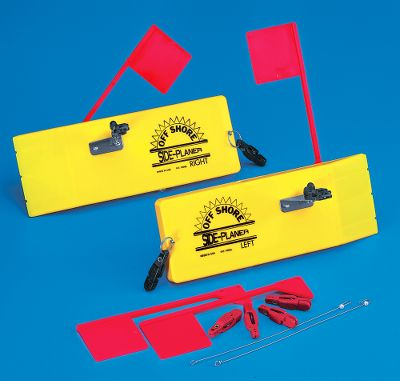 Fishing The Off Shore Side Planer ProPak includes two Off Shore planers (one port, one starboard) and two Tattle Flag upgrade kits. With this upgrade the spring loaded flag is pulled down when a fish strikes, allowing the angler to detect strikes while trolling. - $134.98