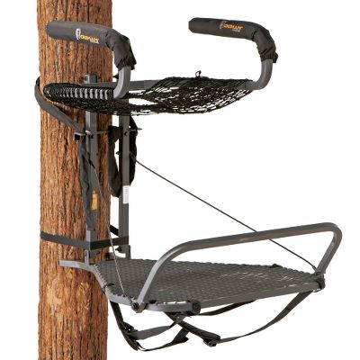 Hunting All-steel construction, heavy-duty Versa Strap making this one of the most solid treestands on the market. ComforTech mesh seat and integrated foot rail promote circulation in your legs for comfortable all-day sits. Padded armrests are quiet and add to your overall comfort. The extra ratchet strap at the base of the stand increases stability and reduces unwanted rotation. Convenient backpack straps included. Stands are tested to TMA standards and include a full-body harness with Suspension Relief System (SRS). Seat width: 22. Platform size: 32L x 24W. Weight: 22-1/2 lbs. Weight capacity: 300 lbs. A Video Public Service Announcement from the TREESTAND MANUFACTURERS ASSOCIATION - $129.99