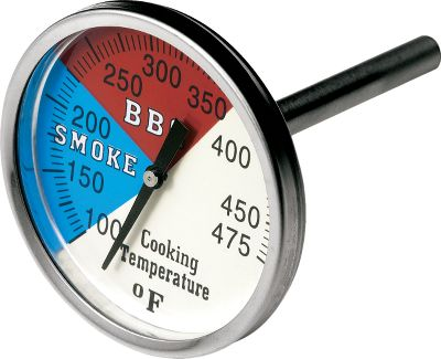 Camp and Hike Upgrade your smoker or grill for temperature-specific, slow-cooking precision. These professional-grade stainless steel thermometers are hermetically sealed for long-lasting performance. Degrees marked in tens with highlighted sections indicating ideal cooking ranges. Easy to install; drill one hole and secure with included mounting hardware. Durable glass lenses. Available: Model BT1 2 dial. 2-12 stem. Insert bushing connector. Works on any grill or smoker. Model BT2 3 dial. 2-12 stem. Works with any grill or smoker, or with any existing 316 port. Color: Stainless Steel. - $13.99