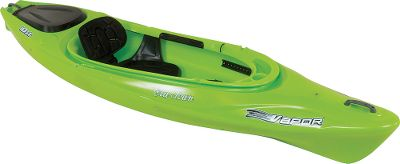 "Kayak and Canoe A sporty and stable get-in-and-go boat with the bells and whistles to make your trip luxuriously smooth. Amply cushioned, flexible and quick-drying seat. Molded-in paddle holder, GPS holder, stern day well with hinged cover for dry storage, thigh pads and adjustable foot braces. Made of durable, single-layer polyethylene.Weight: 48 lbs.Weight capacity: 325 lbs.Measurements: 10'L x 28-1 2""W.Colors: Cloud, Lime, Sunrise. - $449.99"