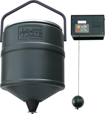 Hunting On-Time's patented gear system drops food in a nearly noiseless natural motion. Program for up to four daily feedings with adjustable feed durations of 1-20 seconds. Includes a 100-lb. capacity conical poly barrel with hanger. Operates up to six months on 10 AA batteries (not included). - $99.99