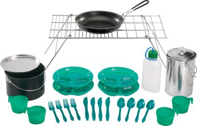 "Camp and Hike Cookware that nestles together to conserve space and stores in one place. Includes heavy-duty grid, 10"" nonstick saut pan with a removable steel handle, 4-qt. cooking kettle with cover, 16-cup camp percolator for preparing freshly brewed coffee over the fire, 1-1/2-pint plastic bottle, four 8-oz. plastic cups, four 9"" plastic plates with dividers, four plastic spoons, four knives and four forks. Made in USA. Total weight: 9 lbs. Set dimensions: 25-1/2"" x 7-3/4"" x 13"". - $59.88"