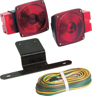 "Motorsports The Over 80"" Trailer Light Kit includes two stud-mount taillights with red side-markers, a license bracket and a 25-ft. wiring harness with hardware. Submersible.Available: Light Kit, Right Light, Left Light. Type: Trailer Light Kit. Over 80"" Light Kit. - $36.99"