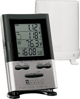 "Now you can know exact rainfall totals without ever stepping outside using this wireless, self-emptying rain collector that transmits to a receiver in your house from up to 300 ft. away. The LCD receiver displays total rainfall and daily rainfall in either millimeters or inches, temperature and time. Can also be programmed to record and save cumulative and daily rain totals. The Deluxe model stores readings for 9 days and has indoor and outdoor temperature. Includes a remote outdoor temperature sensor and rainfall alarm.Requires two AA and two AAA batteries (not included).Dimensions: 3.54""L x 9.8""W x 5.59""D. Type: Rain Gauges. - $59.99"
