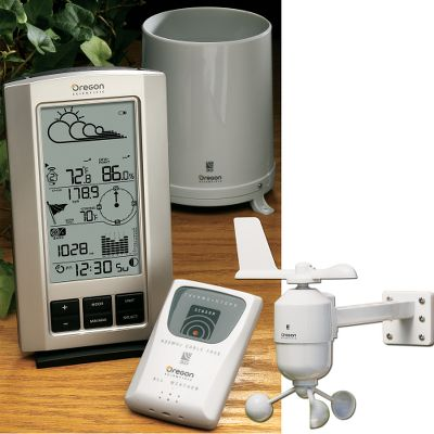 Enjoy the convenience of accurate weather information at your fingertips without a bunch of wires to tangle up. This weather station comes with one base station, one wind sensor/wind vane/anemometer, one temperature/humidity sensor and one rain collector. Attach up to 5 additional temperature/humidity sensors (Sold separately) for complete coverage. Wireless technology enables you to position these remote sensors up to 328-ft. away from the receiving unit/display. The information is transmitted wirelessly to your display from each sensor. Not only does this result in a weather station thats easy to set up, but it also enables you to place the attractive, easy-to-read and compact display unit on any flat surface in your home. In addition to the current temperature, you can see the days high and low. You can also view the days maximum, minimum and current relative humidity. Barometric pressure and pressure tendency are displayed, along with a forecast based on the pressure trend. The unit shows current wind speed and direction. Rainfall can be viewed in two ways how much fell in the last hour, and how much fell in the preceding 24 hours. Moon phase can be displayed, and the built-in clock shows the time in standard 12-hour or military 24-hour formats. Transmitters and receiver are powered by four AA batteries each. With normal use batteries will last more than a year. Batteries included. Receiver measures: 7.1L x 4.3W x 1.9H. - $79.88