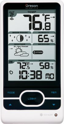 All-in-one temperature, time and humidity. Forecasts the weather 12 to 24 hours in advance using graphical icons. Shows indoor/outdoor temperature and humidity, and temperature and humidity trends. Also displays moon phase and storm-, wind-, fog-, frost-, ice- and heat-warning messages. Push-button backlight. Runs on three AA and two AAA batteries (not included). Dimensions: 6.7H x 4.7W x 3D. Gender: Male. Age Group: Adult. Type: Weather Stations. - $49.99
