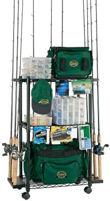 Fishing Store up to 18 rods and reels and additional tackle, boxes and equipment on the three adjustable shelves of this stronger, sturdier version of the standard Tackle Trolley. 1 downtubes provide strength and stability. Shelves each hold up to 50 lbs. Six peg hooks for hanging. Locking wheels for securing in place and easy movement. Rubber clips. Imported. Dimensions: 39H x 27W x 16D. - $99.99