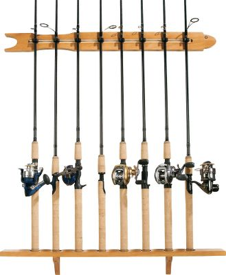 Fishing Store up to eight rod and reel combinations on this hardwood veneer rack with an attractive oak finish. Add additional racks to the modular design as your collection grows. Padded inserts protect and secure rods in place. Easily mounts to most walls using included hardware. Color: Oak. - $29.99