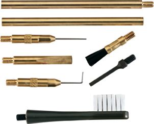 This professional-grade cleaning set includes a gas port pick, a slide and lube rail brush, a trigger mechanism and chamber cleaning brush, a screw-driver tip, and brass extension rods for these accessories that will help you extend their reach without harming the finish of your firearm. - $19.99