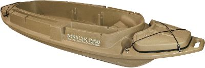 Hunting The portability and flexibility you need to enjoy a successful waterfowl hunt. These rugged boats keep you concealed and protect you while you recline in a shooting position as ducks and geese work your decoys. Each of these boats will take abuse and resist damaging ultraviolet rays. They come with a three-year limited warranty. Available: The Stealth 1200 is compact, tough and has all the comfort of a top-of-the-line pit in a highly portable lay-down boat. The 8-ft. x 27 cockpit gives you room to maneuver and has a contoured seat for day-long waits. Watertight compartment at each end, two side storage slots, a gun rack with shell holder and a cup holder that keeps your gear organized. A decoy slot on each side holds a total of six standard-sized decoys within reach. Super-stable twin-hull catamaran-style bottom floats in minimal water. Molded-in handles. Size: 144L x 44W. Weight capacity: 550 lbs. Colors: Marsh Brown. The Final Attack can be used as a coffin blind on the edge of a cornfield or floating in the cattails. Any way you use it, its a deadly low-profile waterfowl ambush. Molded-in wheels and tow-rope holes make for slick land transport, and the wide bottom is extremely stable in the water. Transom supports an electric motor. Stabilizing holes front and rear. Size: 96L x 44W. Weight capacity: 420 lbs. Colors: Marsh Brown. Color: Marsh. - $479.99