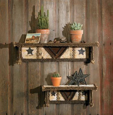 This rugged shelving is made of natural birch bark, twig and suede accents. Each piece is unique. Per 2.Dimensions:Large 4-1/2H x 28W x 6DSmall 6-1/4H x 18W x 6D Type: Shelves. - $129.99
