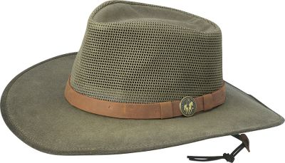 Stay cool with this stylish hat. Open-air crown is perfect for air circulation. Wide wired 3-1/2 brim deflects sun from the head and neck. Leather chincord. Imported. Sizes: S-XL. Colors: Sage, Fieldtan. Size: Small. Color: Sage. Gender: Male. Age Group: Adult. Material: Leather. - $31.49