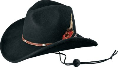 A 100% wool hat with an added touch of style. An intricate hatband and feather set this hat off. UPF rating of 50. Imported. Sizes: S/M, L/XL.Colors: Black, Brown (not shown). - $29.88
