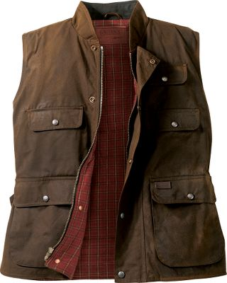 This vest will take all the dust, rain and toil of your work and still be ready for more. Then wash off what nature dishes out and head to town. A spacious fit welcomes you inside the waterproof, 12-oz. oilskin shell. Includes a snap-over storm panel, a nubuck leather top collar, and a quilted plaid and taffeta lining. Storage space is abundant with cargo, handwarmer, hidden chest and inside pockets. Imported. Sizes: M-2XLColor: Bronze, Black. - $49.88