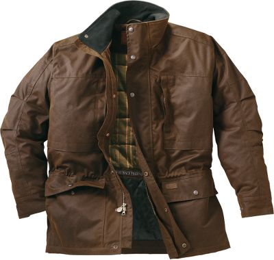 Workwear doesnt get any more rugged than this Outback Trading Mens Deerhunter Jacket. Premium 12-oz. waterproof oilskin fabric from Australia withstands the demands of tough ranch work. A quilted, plaid taffeta lining adds a layer of warmth. Nubuck top collar and cuff tabs. Two-way zipper with storm flap. Adjustable drawstring waist. Multiple interior and exterior pockets. Imported. Sizes: M-2XL. Colors: Bronze, English Green. Size: MEDIUM. Color: Bronze. Gender: Male. Age Group: Adult. Pattern: Plaid. Material: Taffeta. - $104.88