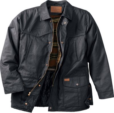Outback Trading has been an industry leader in oilskin apparel for nearly three decades, and this rugged, 3/4-length jacket continues this tradition of quality. This premium garment is crafted of waterproof, 12-oz. cotton oilskin, so you know it delivers top-notch protection against wind, rain and snow. The stylish top collar, piped front, back yokes and adjustable cuff tabs are made of soft nubuck. A Polarfleece lining above the waistline adds an extra layer of heat retention. The smooth taffeta lining below the waist and inside the sleeves lets you slide it on and off with ease. Snap-open back vents provide cooling ventilation when needed. The two-way zipper and snap-over storm flap keep gusting winds out. Multiple pockets and an inside concealment pocket. Imported. Sizes: M-2XL.Colors: Black, Bronze. - $39.88