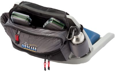 Fishing Add more storage capacity to your boat with this space-saving bag. The padded backrest hangs over the seat to store away extra gear. It includes two beverage holders to satisfy thirst on the water. The main pocket fits bulky items, such as nets, with room to spare. (Water bottles not included). Imported. - $34.99