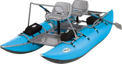 Fishing Slip quietly into the coves and bays or maneuver around those productive pools with your fishing companion in this two-person fishing craft. Its 20-diameter pontoons are built of rugged 900- and 1,200-denier PVC with vinyl air cells inside. The 11-piece aluminum frame breaks down for easy transport and includes taller pedestals for more comfortable seating positions. The front section of the frame can be removed to give the Fish Cat 13 the versatility to operate as a solo craft. A pair of two-piece oars is included, along with an anchor system (anchor not included). Summit 2 valves. Assembled length is 13 ft. with a 65 width. Assembled weight is 170 lbs. Load capacity is 750 lbs. The Fish Cat 13 is backed by a five-year manufacturers warranty. Color: Light Blue. Capacity: 750 lbs. Includes FREE oarsman platform, a metal surface area for the oarsman to stand, stretch or fish that mounts to the frame a $100 value! - $2,199.00