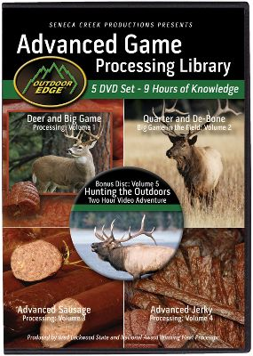 Hunting From the same company who brought you one of the most popular knife packs on the market today, Outdoor Edge has created the ultimate library for game processing. Whether you are just getting started or are a seasoned veteran, this kit will give you the how to from start to finish. In this five-disk set you will learn the art of deer and big-game processing, quartering and de-boning big game in the field, and advanced jerky and sausage processing. You also get a bonus disk with two hours of hunting adventures. Nine hours of knowledge on five DVDs. Type: DVD. - $41.88