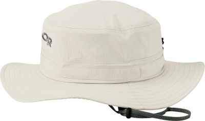 Outdoor Researchs Mens Helios Sun Hat combines UV-resistant fabric with a wide brim to offer maximum protection from the sun. Features an adjustable drawcord and moisture-managing headband. Made of durable ripstop nylon/polyester. UPF rating of 50. Imported. Sizes: M-XL. Color: Khaki. Size: Medium. Color: Khaki. Gender: Male. Age Group: Adult. Material: Polyester. Type: Headwear. - $36.00