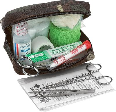 Hunting Designed specially for field use on sporting dogs, this kit is veterinarian- and trainer-approved. Handy carrying case fits in your vest or jacket and includes wound dressings, forceps, antibiotic, dog first aid guide and more. Color: Camo. Type: Dog First Aid. - $23.88