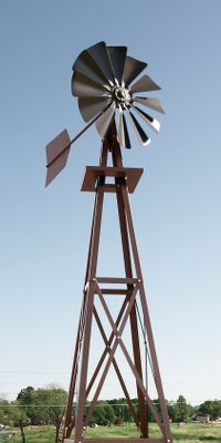 Camp and Hike A decorative powder-coated windmill with an attractive bronze color that looks great in any yard. Its sturdy four-leg tower comes with anchor rods to keep it firmly in place during periods of strong wind. The baked-on finish teams with rolled-formed steel cross members to add durability. An optional aeration kit is sold separately and allows the windmill to serve as a power source to aerate small ponds. One-year manufacturers warranty. Imported. Assembled height: 8 ft. 3 in. Base footprint: 2 ft. Rotor head diameter: 27. Color: Bronze. - $369.99