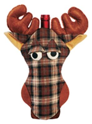 Hunting Accent your home bar with an outdoor-themed bottle cover. Constructed of rayon and acrylic, they accommodate most 750 ml. bottles. Available: Moose, Vintage Lure, Largemouth Bass, Shotshell, Outhouse. - $13.99