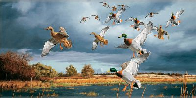 Hunting Choose from several images to bring the immensity and awe of the outdoors indoors. This giant wall hanging is printed on heavy vinyl material in sharp, vivid color. Top and bottom rails keep the art flush to the wall and allows for easy hanging. Reproductions from actual prints of famous artists. Made in USA. Dimensions: 8 ft. x 4 ft.Available: Ducks, Geese, Elk, Moose, Whitetail. Type: Wall Decals/Graphics. - $149.99