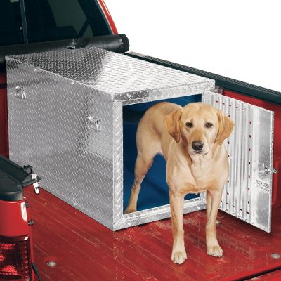 "Hunting Constructed of durable tread-patterned aluminum, this box is insulated for the utmost in durability and comfort for your dog. The walls and floor are insulated with easy-to-clean corrugated plastic, and the pitched roof has 1"" of foam insulation. Both aid in keeping your dog warm in the winter and cool in the summer. Air flow is controlled by adjustable vents in rear. The extra-large lockable door has a removable cover for extra cold-weather protection, as well as side handles for easy toting. It assembles and disassembles easily with a screwdriver. Measures: 23""W x 25-3/4""T x 45-1/2""D. Weight: 60 pounds. - $599.99"