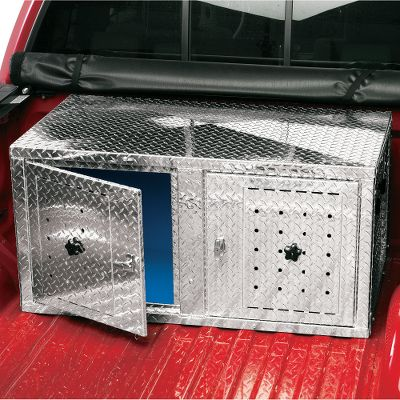 Hunting Constructed of durable tread-patterned aluminum, this two dog box is insulated for the utmost in durability and comfort for your dog. The walls and floor are insulated with easy-to-clean corrugated plastic, and the pitched roof has 1 of foam insulation. Both aid in keeping your dog warm in the winter and cool in the summer. Air flow is controlled by adjustable vents in rear. The extra-large lockable doors have removable covers for extra cold-weather protection, as well as side handles for easy toting. It assembles and disassembles easily with a screwdriver. Measures: 45-1/4 W x 25-3/4 D x 22-1/2 T. Weight: 68 pounds. - $579.99