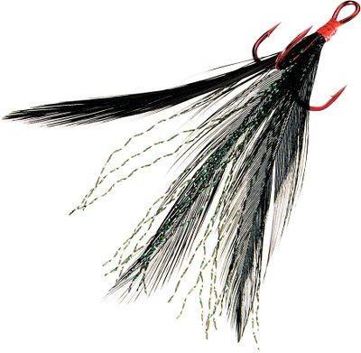 "Fishing Tournament Trailers feature Owner's Stinger-36 Treble hook, but with feathers and reflective mylar flash hand-tied around the shank to stimulate more strikes. When used on a crankbait or spoon, the feathers undulate like the tail of a minnow, but stop the lure and the feathers spread, triggering an ""attack"" response. Per 2.Sizes: 6, 4. Hook color: Red.Colors: Nightmare Black, White Flash. Type: Treble. Size 4. Color Nightmare-Black/Red. - $5.49"