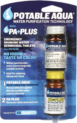 Camp and Hike These neutralizing tablets for use after water has been treated with Potable Aqua tablets. P.A. Plus neutralizes the iodine after-taste and color. Water is ready in as little as 30 minutes. Ideal for camping, hiking and travel uses. Proven effective against Giardia Lamblia when used as directed. Color: Aqua. Gender: Male. Age Group: Adult. - $11.99
