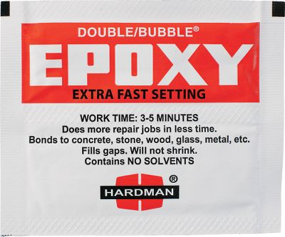 Fishing This may be the easiest way to mix epoxy. Just fold the packet in half, snip off the ends, squeeze and mix. This offers an exact mixture of hardener and resin for a perfect batch of epoxy every time. Great for attaching rod handles to blanks or for emergency guide repair. These small, conveniently sized packets also reduce the amount of epoxy wasted due to mixing of a batch thats too large for the job. Working time is approximately three to five minutes. Per 5. - $5.99