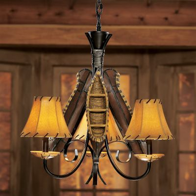 Kayak and Canoe This canoe chandelier has that lodge style that will brighten any room and add a subtle touch of traditional outdoor style. Made from a combination of resin-cast material, Pueblo rust-finished metal and hand finished for a warm antique appearance. Brighten any room and add a touch of the outdoors at the same time with the Old River Canoe Chandelier. It has three candelabra-style lights (40-watt max. each) with faux suede shades. Dimensions: 23-1/2H x 23W. Type: Chandeliers. - $199.99