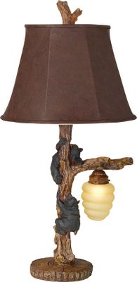Entertainment This lamps base has two young cub bears looking to sweeten their day. Beehive accepts a 7-watt nightlight bulb. Lamp uses a 150-watt bulb. Espresso leatherette shade. Three-way switch. Dimensions: 16-1/2W x 32H. Color: Espresso. - $229.99