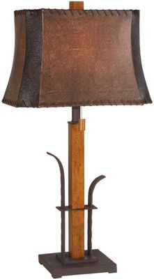 Entertainment Genuine, beautiful fruitwood enhances this table lamp. Faux-leather shade. Pull chain with extender. Maximum 100-watt bulbs (not included). Imported. Dimensions: 31H (with shade) x 16W x 11D. Type: Table Lamps. - $149.99