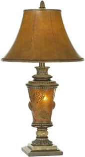 "Entertainment Elegant lighting for your home or cabin. For added ambience, the base accepts a 7-watt night-light bulb for soft, warm mood lighting. Agate marble accents and pine-cone embellishments. Etruscan gold finish. Brown faux-leather bell shade. Uses one 150-watt max. bulb. Shade dimensions: 18""W x 8""D x 11""H. Lamp height: 33"". Type: Table Lamps. - $199.99"