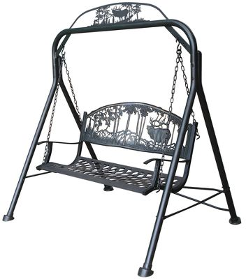 Camp and Hike Add decorative, functional seating to your backyard, patio or porch. The maintenance-free, tubular-steel swing frame and seat boast a durable, baked-on bronze powder-coated finish for weather-resistant durability. Cast-iron backrest and seat are reinforced with steel tubing for added stability and safety. Each swing has an elegant, cutout image in the backrest. Imported.Dimensions: 66H x 63W x 50D. Seat height: 22.Weight: 125 lbs. Available: Deer, Elk. Type: Benches. Color Deer. - $264.88