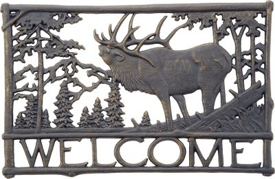 Camp and Hike Greet guests with an all-aluminum welcome sign featuring precision-cut wildlife scenes. Weather-resistant durability. Weight: 2.2 lbs. Dimensions: 18W x 12H. Designs: Deer, Elk. Type: Signs. Style Elk. - $14.88