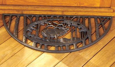 Camp and Hike Greet guests with a cast-iron entry grate featuring precision-cut wildlife scenes. Rugged for weather-resistant durability. Weight: 19 lbs. Dimensions: 35W x 16D. Design: Elk, Deer. Type: Doormats. Style Elk. - $79.88