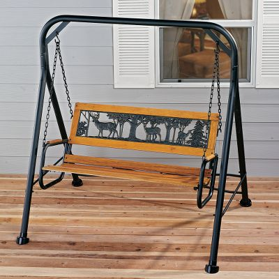 Camp and Hike Add decorative and functional seating to your backyard, patio or porch. The swing is made with bronzed cast-iron ends and backrests and wood-slat seating areas. Each has the cut-out image in the backrest.Frame size: 63W x 66H.Available: Elk, Pheasant. Type: Benches & Swings. Elk. - $149.88