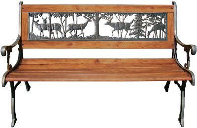 Camp and Hike Add decorative and functional seating to your backyard, patio or porch. The bench is made with bronzed cast-iron ends and backrests and wood-slat seating areas. Each has the cut-out image of an Elk or Buck Deer in the backrest. Size: 49L x 25W x 31H.Available: Elk, Buck Deer. - $89.88