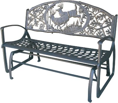 Camp and Hike The timeless style and stout construction of this wildlife-themed, cast-iron glider make it the perfect addition to your porch, patio or garden. Its smooth, quiet, soothing motion makes it just the right spot to relax. Dimensions: 32-12H x 50W x 23-12D with a 17-12 seat height. Available: Deer, Elk. Color: Garden. - $329.99
