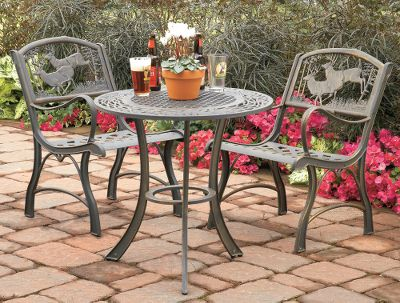 Camp and Hike Complement the outdoor-inspired look of your patio with these long-wearing cast-iron tables. Oak-leaf design features a durable baked-on bronze finish with hand-painted gold highlights that add warmth and class to your next gathering. Easy to assemble. Maintenance-free. Imported. Patio Table: 30D x 32H. Color: Bronze. - $199.99