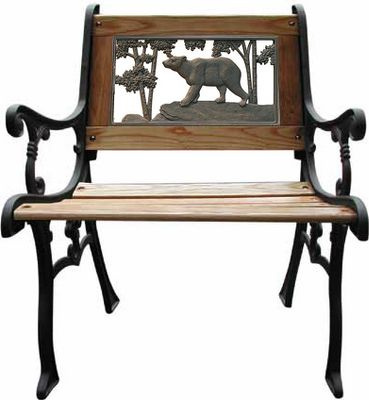 "Camp and Hike Add decorative and functional seating to your backyard, patio or porch. Each chair features a cut-out wildlife image in the backrest. Bronzed cast-iron ends and backrest with a wood-slat seating area.Dimensions 25-1/2""L x 23-1/2""W x 32-1/2""H (seat height is 17-1/2"").Available: Elk, Pheasant(Not Shown), Deer, Bear. - $119.88"