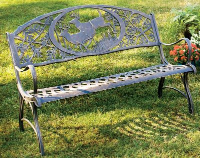 Camp and Hike The timeless style and stout construction of this wildlife-themed, cast iron bench makes it the perfect addition to your porch, patio or garden. Finely wrought cast iron has set the standard in outdoor furniture for generations because of its easy-to-maintain beauty and all-weather durability. Assembly required. Imported. Wt: 94 lbs. Seat ht: 16. 36H x 50W x 27D. Available: Deer, Elk. Size: ELK. Color: Garden. - $299.99