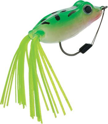 Fishing Features a solid body that doesn't take on water like hollow frogs. Downward hook placement for better hookup ratio. Per each. Sizes: 3/8 oz., 5/8 oz. Colors: (001)Green/Yellow Belly, (002)Holo Poison Chartreuse, (003)Holo Green, (004)Holo Poison Green/Yellow. - $7.49