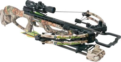 Hunting Proprietary split-limb design and Fulcrum Pocket System make this crossbow amazingly compact and extremely fast. Weighing in at 8 lbs. its lightweight, well-balanced and highly maneuverable. Dual-string suppressors quiet the shot and reduce vibration. New EZ Pull System has been engineered into the bow, reducing cocking effort by over 50%. G2 Bull-Pup trigger has an ambidextrous auto-engage safety, an anti-dry-fire device, and over-claw latch design, zero trigger travel and 100% machined-aluminum housing. Shoots bolts up to 340 fps. Power stroke:12-1/4. Draw weight: 165 lbs. Length: 35-1/2. Width: 20-3/4. Weight: 8 lbs. Camo pattern: Next Camo G1 Vista. Tornado F4 Package includes: Tornado F4 crossbow; illuminated multireticle scope; quick-detach four-arrow quiver; six Red Hot High-Velocity arrows; a Red Hot Roller Rope Cocker; three Red Hot Crosspro FX 100 broadheads; six 100-grain, match-weight field points; a Red Hot crossbow sling; a Red Hot Wax and Lube Kit; and a Red Hot soft crossbow case. Color: Red. Type: Crossbows. - $1,099.99