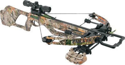 Hunting An ultralight, compact and aggressively styled crossbow that blends hard-hitting performance with outstanding maneuverability. It delivers bolts to the target at up to 315 fps with as much as 90 ft.-lbs. of kinetic energy. Dual-string suppressors quiet the bow and reduce vibration. The stocks Monte Carlo look sports an elevated cheek rest to give it a rifle-like feel, and the entire stock is covered in Next Camo G1 Vista camo with Soft Touch finish. Other stock features include a vented forearm, safety finger flange, aggressive thumbhole and textured pistol grip. Parkers renowned 100% metal G2 trigger has an ambidextrous auto-engage safety, an anti-dry-fire device, and over-claw latch design, zero trigger travel and 100% machined-aluminum housing. Integrated one-piece scope base. Power stroke: 11-1/2. Draw weight: 165 lbs.Length: 32. Width: 21.2. Weight: 7-1/2 lbs. Camo pattern: Next Camo G1 Vista.Hornet Extreme Package includes: crossbow, 3X multireticle scope, four-arrow quiver and four arrows with field points. Type: Crossbows. IBO Speed (fps): 301-325. - $499.88