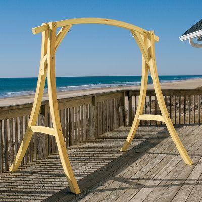 Camp and Hike This Swing Stand is crafted of rugged laminated golden cypress. The use of oak-curved arms, zinc-plated hardware and weather- and stain-resistant acrylic in the stand ensures years of enjoyment. Made in USA.7W x 5-1/2D x 7H. Type: Hammocks. - $599.99